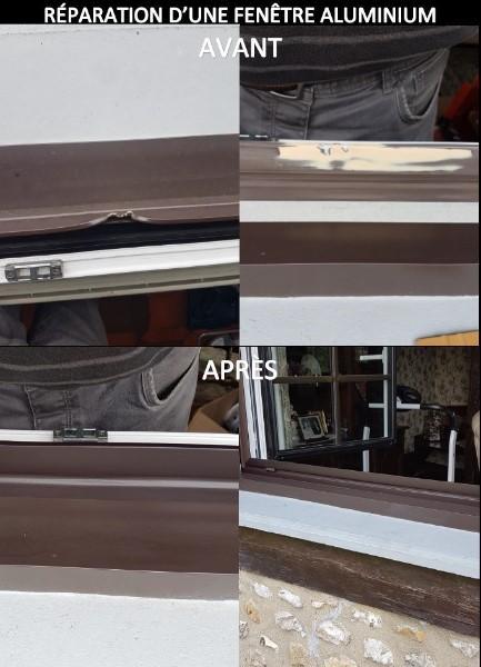 Réparation d'une fenêtre en aluminium effectué par la Société Miroiterie MFI.